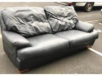 Black Leather 3 Seater Sofa (@07752751518)