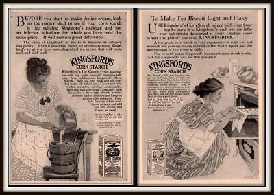 AD LOT OF 2  1911 ADS KINGSFORD CORN STARCH ICE CREAM RECIPE TEA BISCUIT EHC