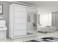 BRAND NEW sliding door wardrobe 200 cm / hanging rail shelfs + FREE LED LIGHTS