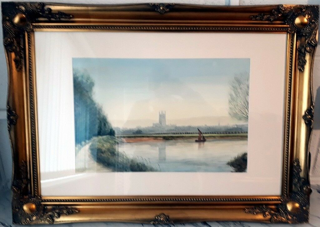 Original watercolor by local artist Alan England in beautiful frame