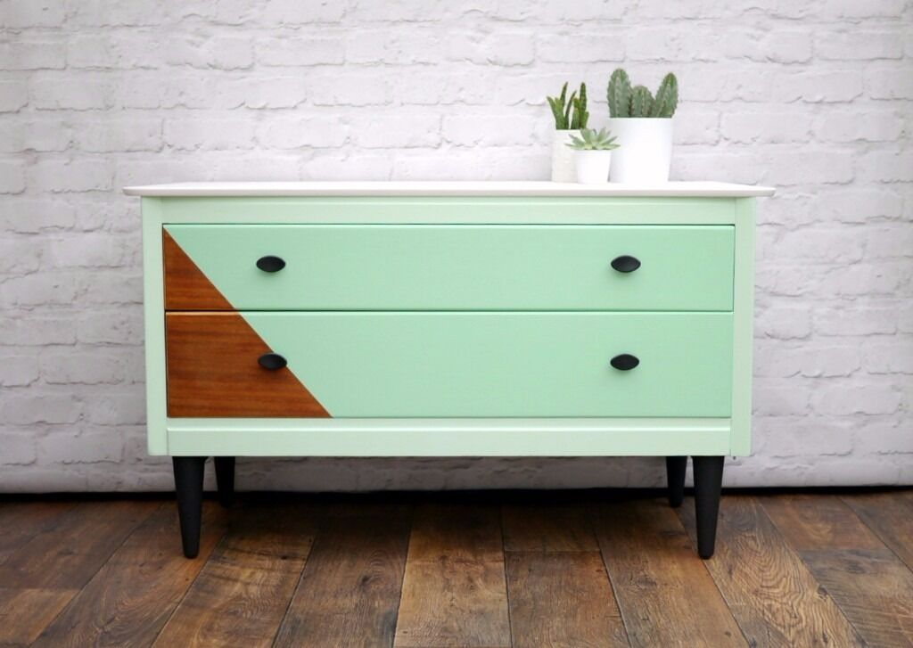 Upcycled Sideboard, Painted in Mint Green& White, Mid Century Modern 1960s in Cambridge