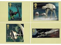 FOUR - ROYAL MAIL PHQ POSTCARDS - STAR WARS - MINT CONDITION