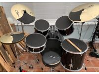 Drum Kit with Upgraded Cymbals
