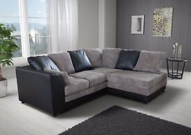 Dylan / Byron Corner Sofa Grey / Black or Beige / Brown Porto Jumbo Cord Right or Left Side Settee
