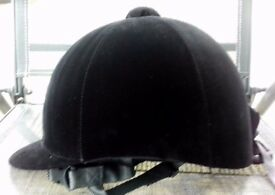 Horse Velvet Riding Hat Black New