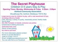 Indoor soft play, Stay & Play. The Secret Playhouse, Ashford Middlesex