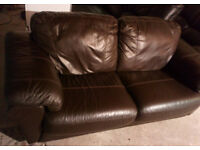 BROWN REAL LEATHER SEATER SOFA AND MATCHING CHAIR VERY COMFY VIEWING WELCOME