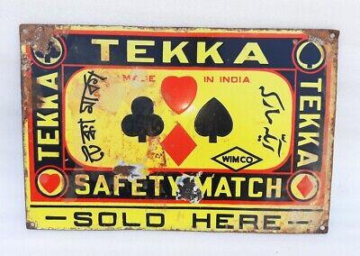1940's Old Vintage Rare Wimco Tekka Safety Match Sold Here Porcelain Enamel Sign