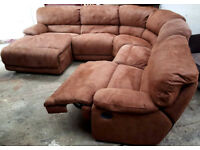 Recliner Corner Sofa Suede Fabric-Chocolate.