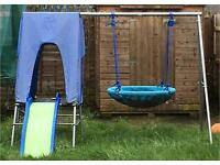 Childrens Multiplay frame with swing nest and slide