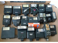 joblot of vintage camera flashes