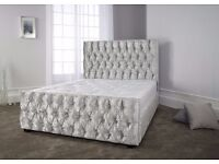 SILVER, BLACK AND CREAM COLORS //// BRAND NEW //// CHESTERFIELD CRUSHED VELVET DOUBLE BED FRAME