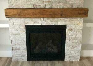 Reclaimed Rustic Barn Beam Floating Fireplace Shelves Mantels - Ship Across Canada