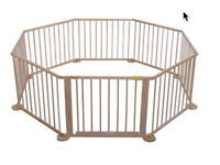 Octagonal solid wood play pen and room divider/safety gate