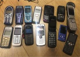 Various old school retro mobile phones Nokia Motorola