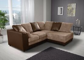 ❤◄Black/Grey, Brown/Mink►❤New Byron Jumbo Cord + Leather Sofa. Available in Corner or 3 and 2 Seater