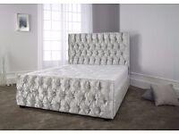 ★★ Sprung Slatted Base ★★ Chesterfield Crushed Velvet Fabric Bed frame 4'6ft Double 5ft king!