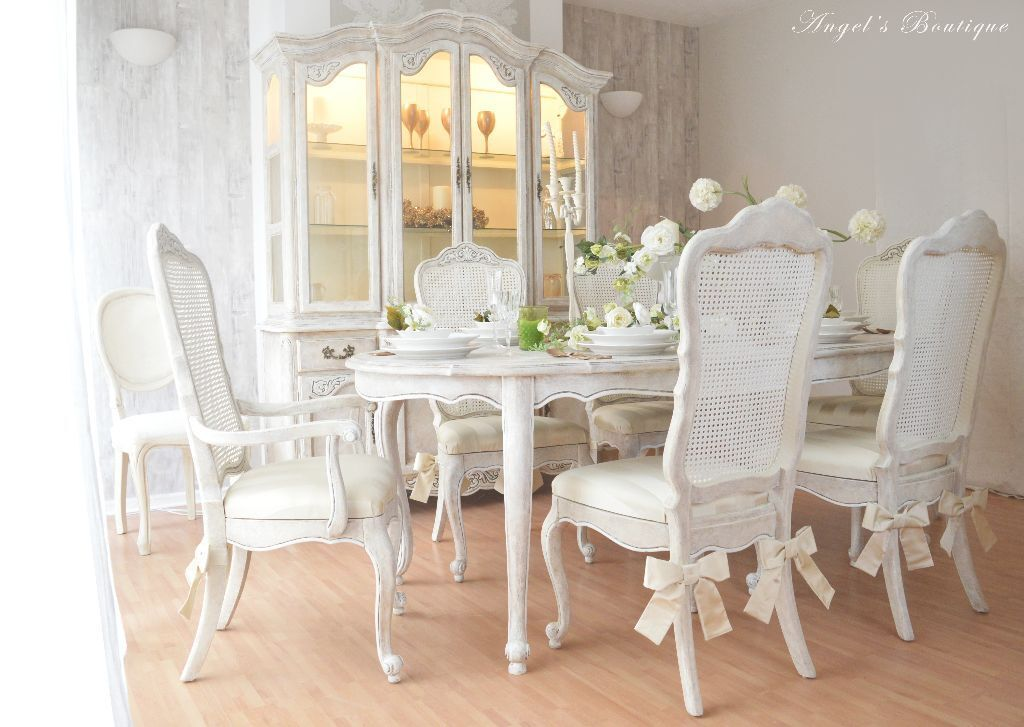 unique french antique shabby chic dining table with six chairs in hertford. Black Bedroom Furniture Sets. Home Design Ideas