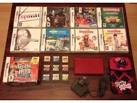 Red Nintendo Ds lite console bundle with 18 games