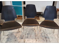 CHAIR x 3 IKEA VILMAR BLACK CURVED WOODEN