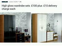 3pc high gloss wardrobe set