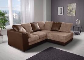 New Byron Left / Right Hand Corner Or 3+2 Sofa In Brown Cream Black &Grey Fabric Sofa