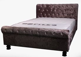 Crushed velvet sleigh bed - King