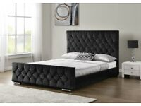 New Diamond Upholstered King Size Bed Frame Chenille Fabric Charcoal Clearance Stock