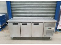Commercial undercounter three 3 door work top prep fridge stainless steal 1800mm..