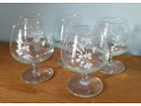 5 Small Decorated Brandy/Liqueur Glasses in Used Condition