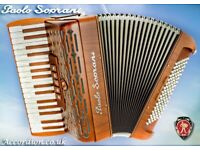 New Paolo Soprani Wood Folk - 34 / 96 - Full Musette (MMM) 3 Voice Piano Accordion