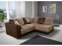 **14-DAY MONEY BACK GUARANTEE!** Benson BROWN AND BEIGE Double-padded Fabric Corner Sofa RRP£399