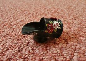 Miniature Hand Painted Red Pink Green Yellow Floral Design Black Coal Scuttle Ornament Barge Ware