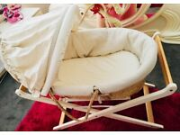 Almost brand new Moses basket +stand + mattress