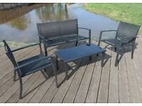 GARDEN FURNITURE SET PATIO 1x BENCH 2x CHAIRS 1x GLASS TABLE OUTDOOR