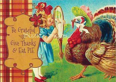 Fabric Block Thanksgiving Postcard Be Grateful Give Thanks Eat Pie Turkey - Thankful Turkey Craft