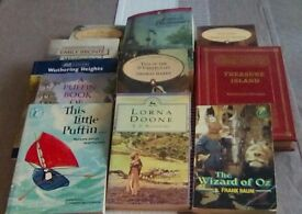 Eleven different classic books including Wuthering Heights, Jungle Book, Lorna Doone, Jane Eyre etc.