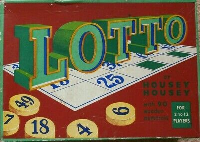 Vintage LOTTO / HOUSEY HOUSEY / BINGO Game - with 90 WOODEN NUMERALS - COMPLETE