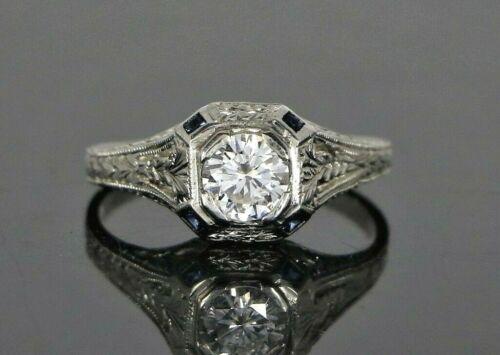 Vintage Estate Platinum Round Diamond Blue Sapphire Art Deco Engagement Ring 6