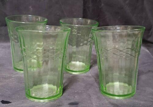 """4 HAZEL ATLAS GREEN DEPRESSION GLASS TUMBLERS - 4"""" TALL"""