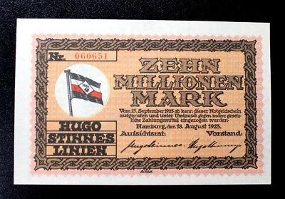 1923  Authentic German 10 MILLION MARK NOTE  UNCIRCULATED HUGO STINNES GERMANY