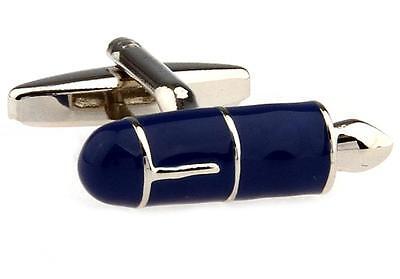 Fountain Pen Pair Cufflinks Silver Blue Wedding Fancy Gift Box & Polishing Cloth