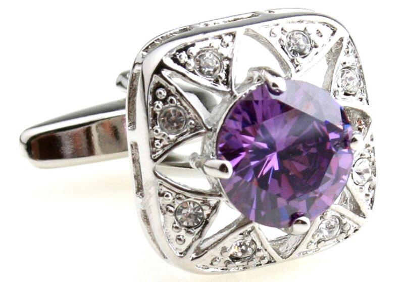 Round Purple Crystal Pair Cufflinks Wedding Fancy Gift Box & Polishing Cloth