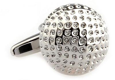 Golf Ball Pair Cufflinks Silver PGA Wedding Fancy Gift Box & Polishing Cloth