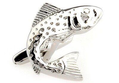 Fisch Bass Paar Manschettenknöpfe Silber Lakes Hochzeit Kostüm Geschenkpackung - Silber Fisch Kostüm