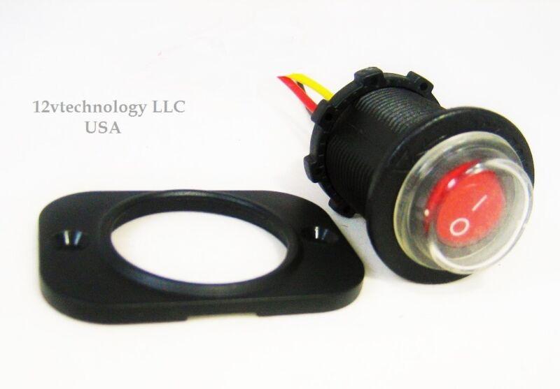 Sealed Waterproof LED Rocker Toggle Switch SPST Marine 12V Panel Mount Round Red