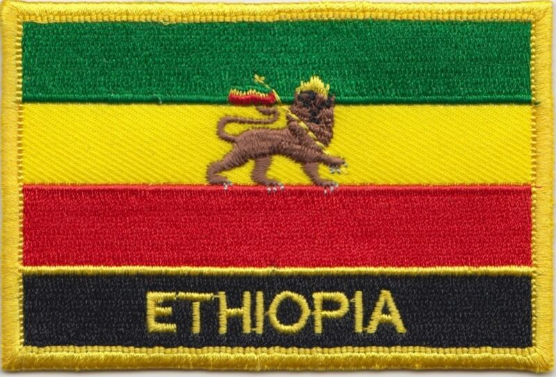Ethiopia 1941 to 1974 Lion of Judah Flag Embroidered Patch Badge  Sew or Iron on