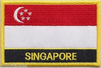 Singapore Flag Embroidered Patch Badge - Sew or Iron on