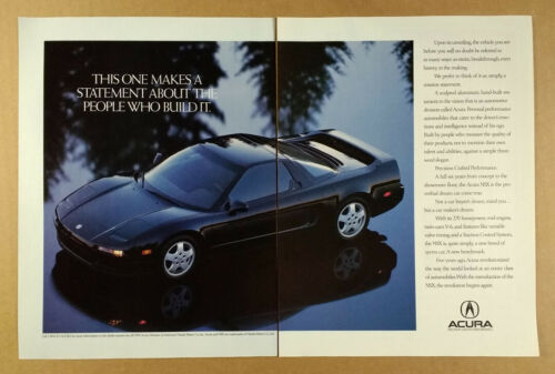 1991 Acura NSX black car photo vintage print Ad