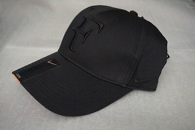 New Nike Rf Roger Federer Hat Cap Black Tennis  Dri Fit 371202 011